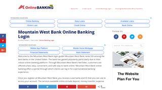 Mountain West Bank Online Banking Login   OnlineBanking101.com