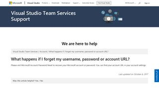 What happens if I forget my username, password or account URL ...