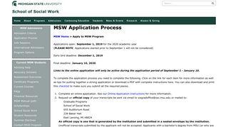 MSW Application Process | the MSU School of Social Work