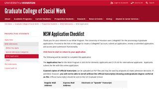 MSW Application: University of Houston - University of Houston