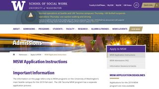 MSW Application Instructions | School of Social Work