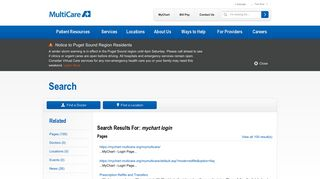 mychart login - Search Results | MultiCare
