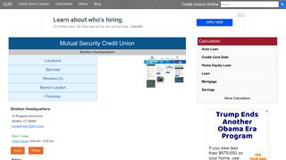 Mutual Security Credit Union - Shelton, CT - Credit Unions Online