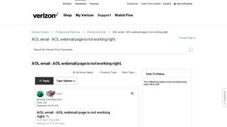 AOL email - AOL webmail page is not working right. - Verizon Fios ...