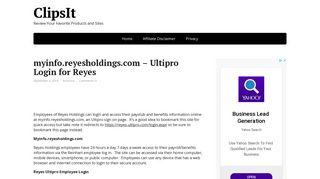 myinfo.reyesholdings.com – Ultipro Login for Reyes Holdings ... - Clipsit