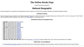 National Geographic archives - The Online Books Page