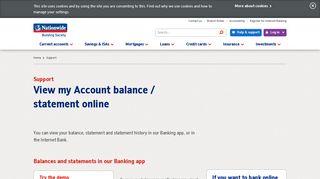 View my Account Balance Statement online | Nationwide