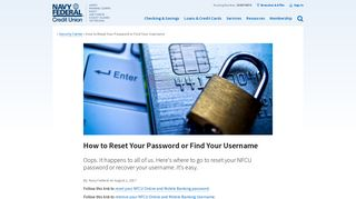 How to Reset Your Password or Find Your Username | Navy Federal ...