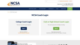 NCSA Login for College, Club and HS Coaches