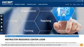 Instructor Resource Center Login - NCSF
