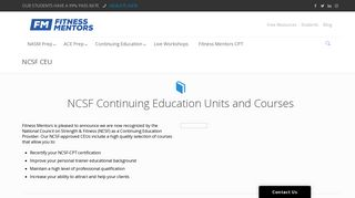 NCSF CEU & Recertification- Continuing Education Units and Courses