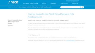 Cannot Login to the Neat Cloud Service with NeatConnect - The Neat ...