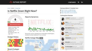 Netflix Down? Service Status, Map, Problems History - Outage.Report