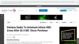 Ventana Seeks To Automate Inform HER-2/neu After $5.5 Mil. Oncor ...
