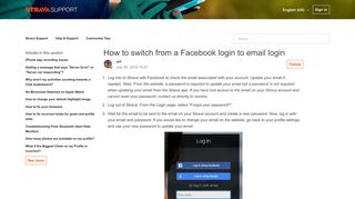 How to switch from a Facebook login to email login – Strava Support