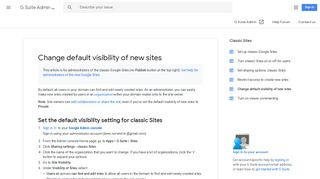 Change default visibility of new sites - G Suite Admin ... - Google Support