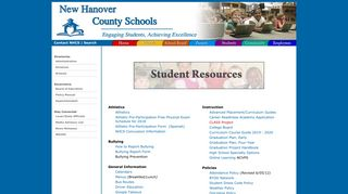 NHCS - Quick Links for Students - New Hanover County Schools