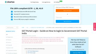 GST Portal Login - Guide on How to login to Government GST Portal ...