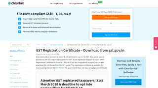 GST Registration Certificate - Download from gst.gov.in - ClearTax