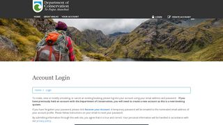 New Zealand - DOC Booking Service - Account Login