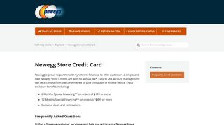 Newegg Store Credit Card – Newegg Knowledge Base