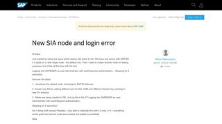 New SIA node and login error - archive SAP