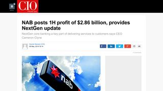 NAB posts 1H profit of $2.86 billion, provides NextGen update - CIO