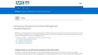 self-service password reset - NHSmail 2 Portal - Home