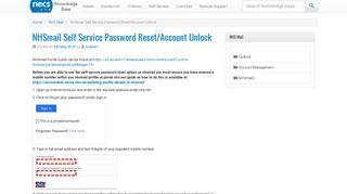 NHSmail Self Service Password Reset/Account Unlock - NECS ...
