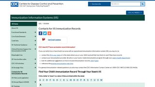 IIS | Contacts for Immunization Records | CDC