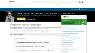 Manage Norton Password Manager logins - Norton Support