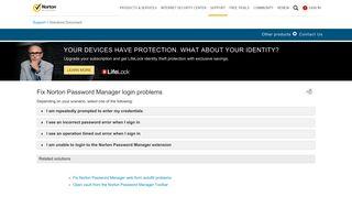Fix Norton Password Manager login problems - Norton Support