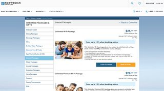 Gifts Details - Internet Packages - Norwegian Cruise Line