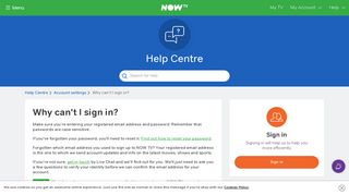 Why can't I sign in? - NOW TV - Help