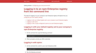 Logging in to an npm Enterprise registry from the command line | npm ...