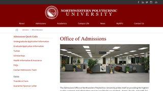Office of Admissions | Northwestern Polytechnic University