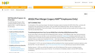 401(k) Plan Merger (Legacy NXP Employees Only)|NXP