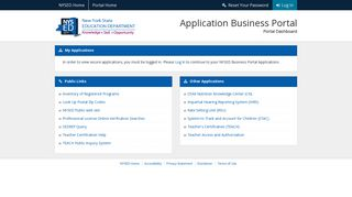 NYSED Application Business Portal - Dashboard