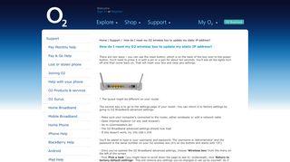 How do I reset my O2 wireless box to update my static IP address ...