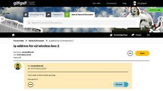 Ip address for o2 wireless box 2 - The giffgaff community