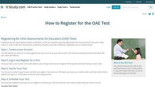 How to Register for the OAE Test - Study.com