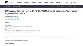 OAE Agent fails to start with