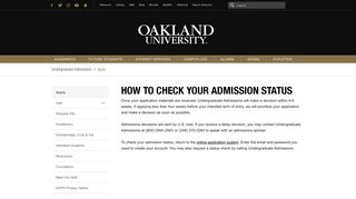 How to Check Your Admission Status ... - Oakland University