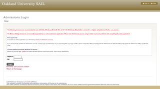 Admissions Login - Oakland University SAIL