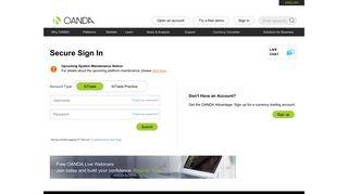 Secure Sign In   OANDA fxTrade