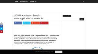 UDOM Admission Portal – www.application.udom.ac.tz - - Eduloaded