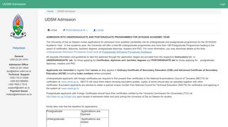 UDSM Admission - admission.ac.tz