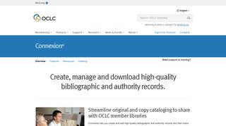 Connexion cataloging tool - OCLC