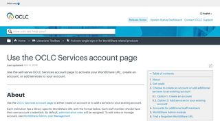 Use the OCLC Services account page - OCLC Support