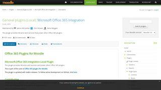 Moodle plugins directory: Microsoft Office 365 Integration